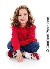 Cute little girl - Stock image of cute little girl sitting...
