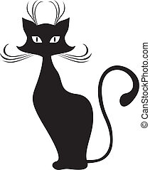 Black cat - The silhouette of black graceful cats
