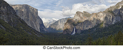valley with waterfall in yosemite national park