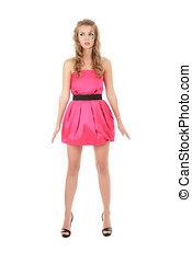 Fashion model in pink mini dress posing like doll