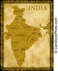 Map of India on the old background