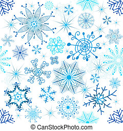 Christmas seamless white pattern with blue snowflakes...