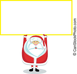 Cartoon Santa with copy space.