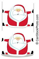 Cartoon Santa making splits. Vector illustration