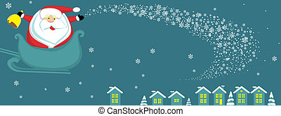 Santa with bell in sleight. Vector