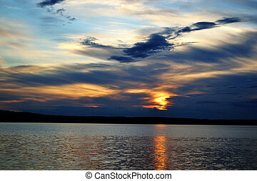 Summer sunset on lake - The photo of summer sunset on lake