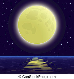 Moon over sea - Background, night sea landscape, star sky...