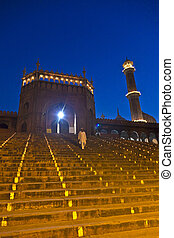 Jama Masjid Mosque by night, old Delhi, India