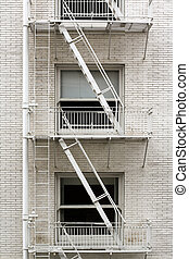 Fire Escape Ladder - Fire escape ladder zigzagging across...