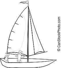 Sailing boat with a people, contours