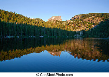 sunrise at Bear Lake in Rocky Mountains National Park,...