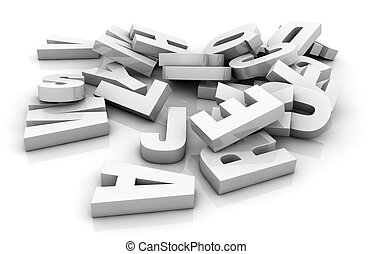 pile of letters - one pile of white letters 3d render