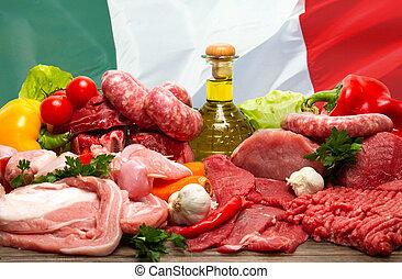 italiano, cru, carne