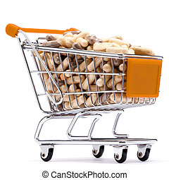 Carts filled with pills - Carts on a white background filled...