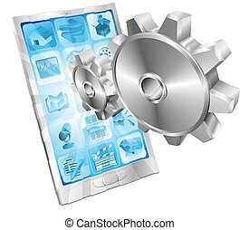 Gear cogs flying out of phone screen concept