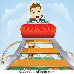 Business roller coaster ride concept - Illustration of a...