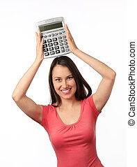 Young woman with a calculator