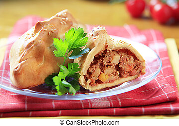 Cornish Pasty - Pastry case filled with meat and vegetables