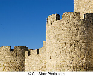The walls of the castle of Simancas, Valladolid, Spain