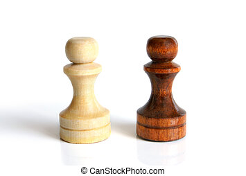 Black and white pawns on a white background