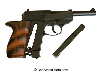 Pistol isolated on the white background