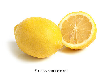 Lemon on the white background