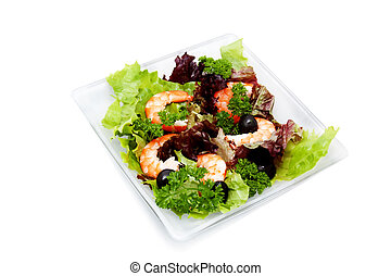 salad with shrimp, black olives and herbs