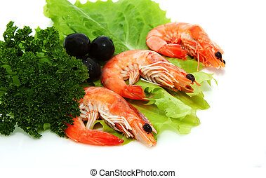 shrimp with lettuce, parsley and black olives