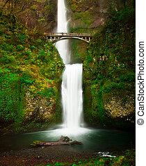 Multnomah Falls - The bridge and lower bottom view of...