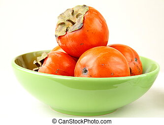 persimmon fruit on a white background