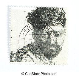 Rembrandt etch on postage stamp - THE NETHERLANDS - CIRCA...
