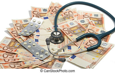 Health costs - Stethoscope and pills on a big stack of euros