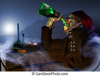 Pirate Drinking Fiery Green Liquid with ocean mist swirling...