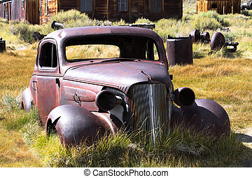 Vintage Car and Home - 1937 Chevy without wheels abandoned...
