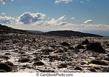 Meager landscape at Mount Ruapehu, Tongariro National Park,...