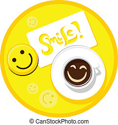 coffee smile - cup of coffee with smile and a sticker on...
