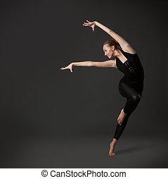 atractivo, joven, mujer, bailando