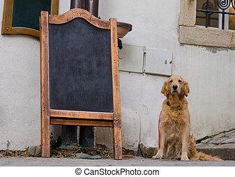 Restaurant menu board with cute dog