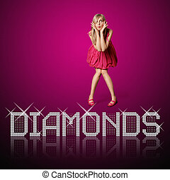 diamond letters and blond woman, concept diamonds are girls...