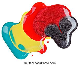 clavo, polaco, (enamel), mezclado, multicolor, muestras,...