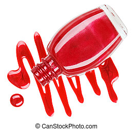 Bottle of red nail polish with enamel drop samples, isolated...