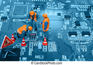 Miniature engineers fixing error on chip of circuit board....