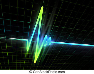 neon ECG - neon electrocardiogram graph on a dark background