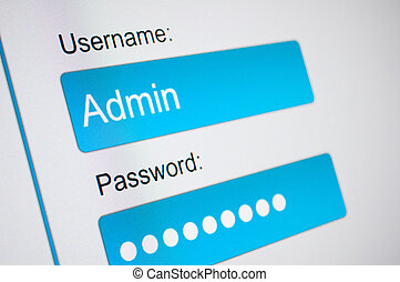 Login Box - Username and Password in Internet Browser on...