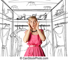 surprised girl in pink, looking up, with open hand