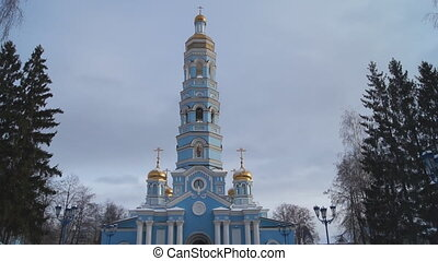 Russian Orthodox Church. Golden domes. The Cathedral. Winter...