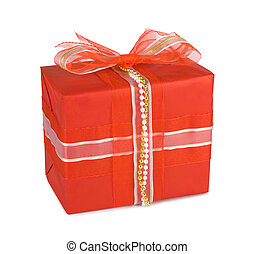 Holiday gift boxes decorated with bows and ribbons isolated...