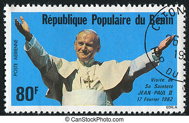 Pope John Paul II - BENIN - CIRCA 1982: stamp printed by...
