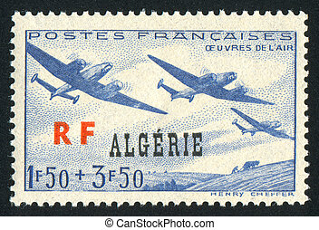 Planes - ALGERIA CIRCA 1945: stamp printed by Algeria, shows...