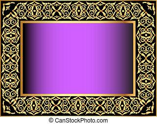 violet background with gold(en) antique pattern